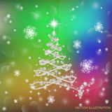 Christmas tree  illustration. Christmas tree in different colors with lights and snowflakes. Vector illustration Royalty Free Stock Photo