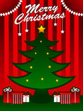 Christmas Tree. Illustration of a Christmas tree with a gift box below Stock Photo