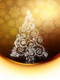 Christmas tree illustration on golden. EPS 8 Royalty Free Stock Photos