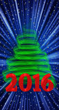 Christmas tree 2016. An illustration with new year 2016 Royalty Free Stock Image