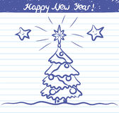Christmas tree illustration for the New year - sketch on school notebook Stock Photos