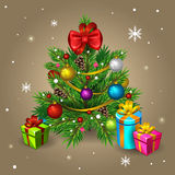 Christmas tree. Illustration of Christmas tree with presents Royalty Free Stock Images