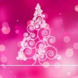 Christmas tree illustration on purple bokeh. EPS 8 Royalty Free Stock Image