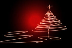 Christmas Tree. Illustration with red background Royalty Free Stock Photography