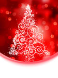 Christmas tree illustration on red bokeh. EPS 8 Royalty Free Stock Photo