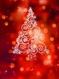 Christmas tree illustration on red. EPS 8 Royalty Free Stock Photo