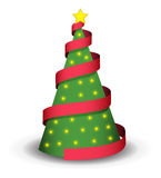 Christmas tree. Illustration with red ribbon, lights and shadow Royalty Free Stock Photos