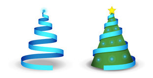 Christmas tree. Illustration with ribbon, lights and shadow Stock Photography