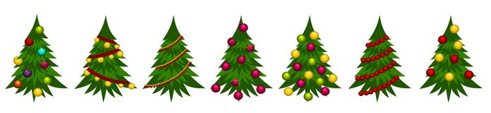 Christmas tree illustrations Background stock images