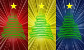 Christmas tree. An illustration with christmas tree in three different backgrounds Stock Image