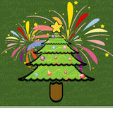 Christmas tree illustration vector cute card Stock Photo