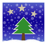 Christmas tree. Illustration of Christmas tree. Winter scene Royalty Free Stock Photo