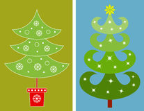 Christmas Tree Illustrations. Green Christmas tree illustrations, conifer trees, white snowflakes, snow, blue background, green background, Christmas star, red Stock Images