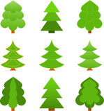 Christmas Tree Illustrations. Isolated green Christmas tree illustrations on white background, nature, conifer trees, evergreen trees, green trees, forest tree Stock Photos