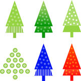 Christmas Tree Illustrations. Red blue and green Christmas trees with snowflakes Royalty Free Stock Photos