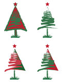 Christmas tree. Illustrations in red and green Royalty Free Stock Photography
