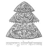 Christmas tree with indian floral paisley pattern. Black and whi Royalty Free Stock Images