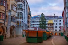 Christmas tree in Innsbruck stock image