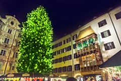 Christmas tree in Innsbruck royalty free stock images
