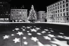 Christmas tree in Innsbruck. Christmas tree Austria stars lights decoration Stock Photo