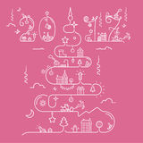 Christmas tree with 2017 inscription. Abstract Christmas tree in line style with 2017 inscription. Christmas, New Year, winter themes. Vector illustration Royalty Free Illustration
