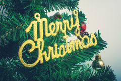 Christmas tree. Inscription on the decorated Christmas tree Stock Photography