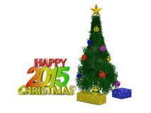 Christmas tree. The inscription Happy Christmas 2015 near a Christmas tree royalty free illustration