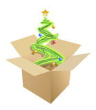 Christmas tree inside a cardboard box Stock Images