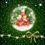 Christmas tree  inside shiny ball postcard Royalty Free Stock Photography