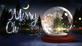Christmas tree inside snow globe with magic greeting stock video footage