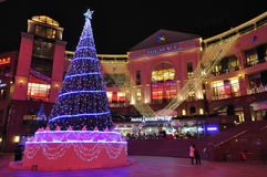 Christmas Tree, Inside view of  Shopping Mall Royalty Free Stock Images