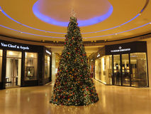 Christmas Tree, Inside view of  Shopping Mall Royalty Free Stock Photos