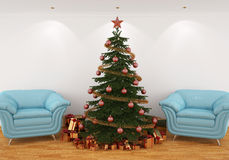 Christmas tree in the interior with blue chairs Royalty Free Stock Photos