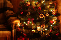 Christmas Tree in the interior, close up Royalty Free Stock Image