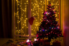 Christmas tree in the interior. Royalty Free Stock Photography