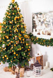 Christmas tree and Interior room decorated in Christmas style wi Stock Photography