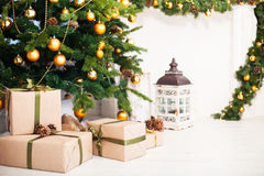 Christmas tree and Interior room decorated in Christmas style wi Royalty Free Stock Images