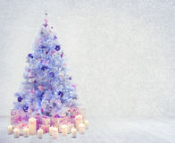 Christmas Tree Interior Room, Xmas White Wall Presents. Christmas Tree in Interior Room, Xmas Tree on White Wood Floor and Wall, Presents Gifts Royalty Free Stock Images