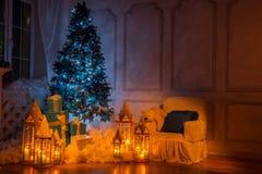 Christmas tree interior studio shot Royalty Free Stock Photography