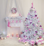 Christmas Tree Interior, Xmas Fireplace in Pink Decorated Indoor Stock Images