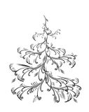 Christmas tree, isolated. Vector christmas tree, isolated, decorative illustration Royalty Free Stock Photos