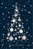 Christmas tree isolated on blue background. Vector illustration Stock Photo