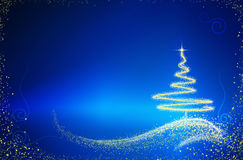 Christmas tree isolated on blue background. Merry Christmas and Happy New Year Card with beautiful Christmas tree Royalty Free Stock Photography