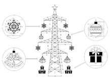 Christmas tree isolated - blueprint. Shoot of the Christmas tree isolated - blueprint stock illustration
