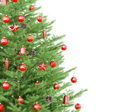 Christmas tree isolated 3d rendering. Christmas fir tree with red decorations isolated over white 3d rendering Royalty Free Stock Photo