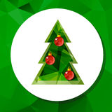Christmas tree-05. Christmas tree isolated on green polygonal background. Design element for greeting cards or flyers. Xmas illustration Royalty Free Stock Image