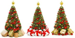 Free Christmas Tree Isolated On White, Set Of Decorated Xmas Tree With Present Gift Boxes Royalty Free Stock Photo - 160895215