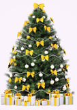 Christmas tree isolated over white 3d Royalty Free Stock Images