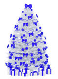 Christmas tree isolated over white 3d render Royalty Free Stock Photography