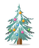 Christmas Tree Isolated on White. Cartoon Fir. Tree in xmas holiday concept. Merry Christmas and Happy New Year poster. Funny winter illustration for children Royalty Free Stock Photography